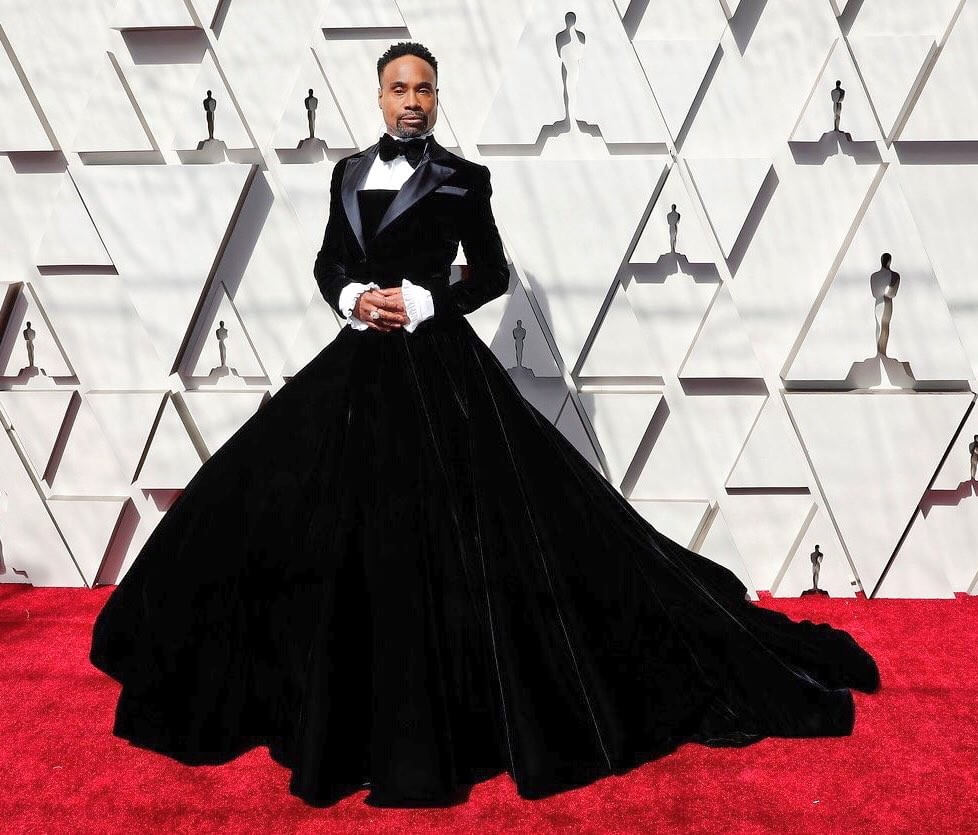 Billy Porter in tuxedo gown from Christian Siriano, Oscars 2019
